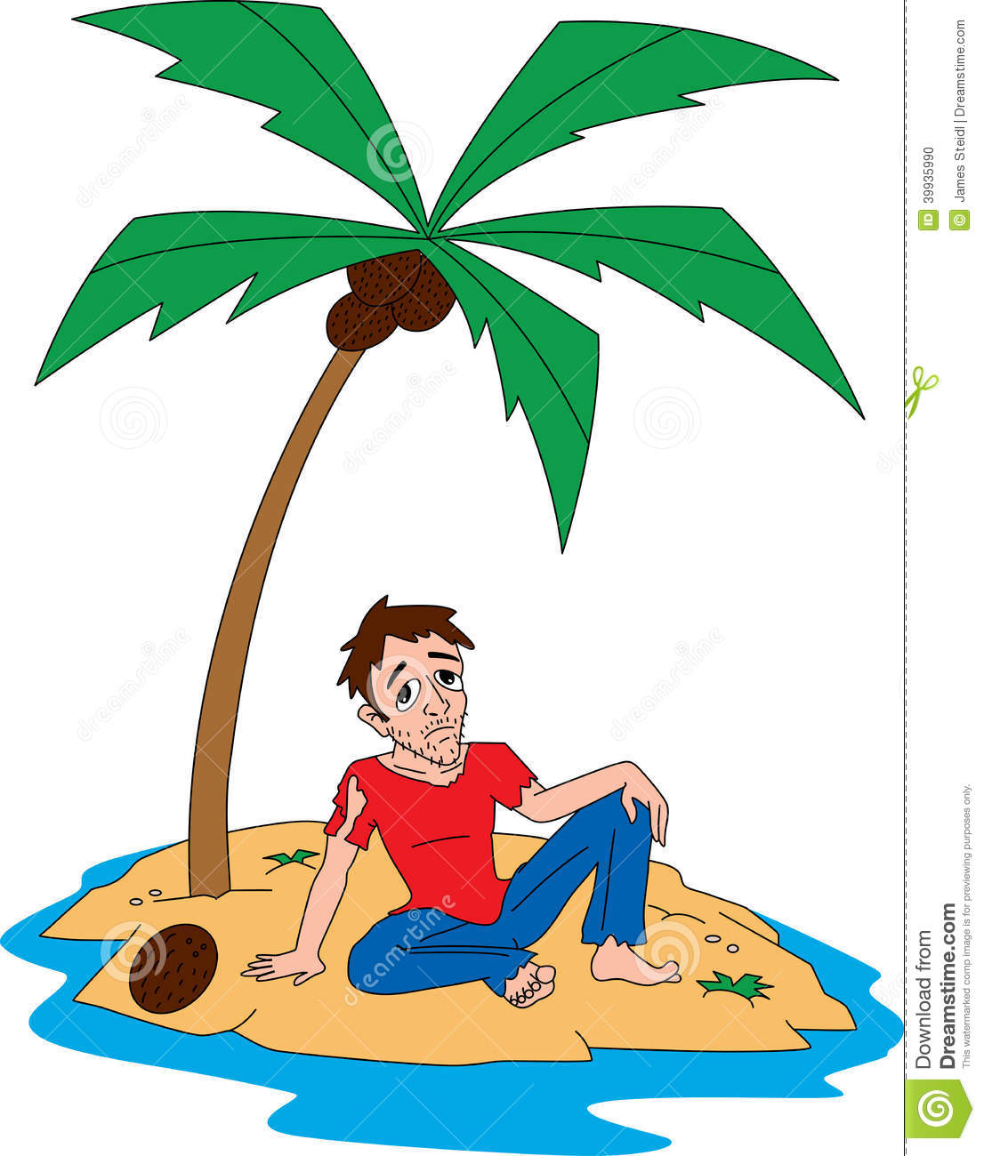 Man on deserted island free clipart.