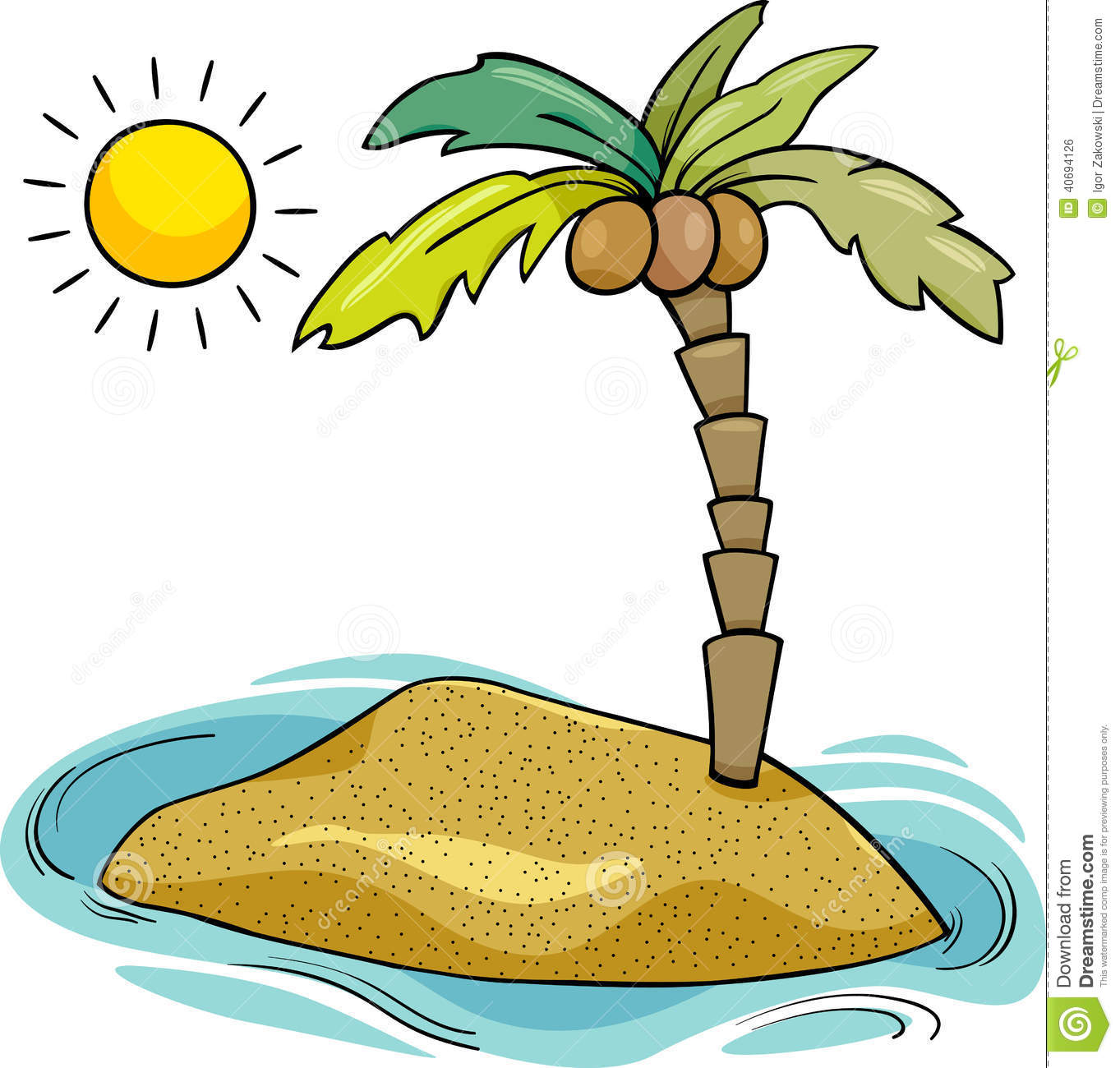 Deserted tropical island clipart.