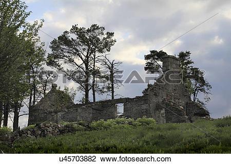 Stock Photo of Scotland, Moray, Glenlivet. A derelict stone farm.