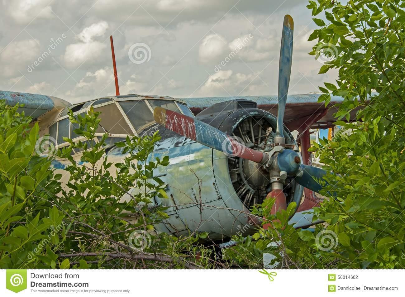 Abandoned Old Plane Ruins Stock Photo.