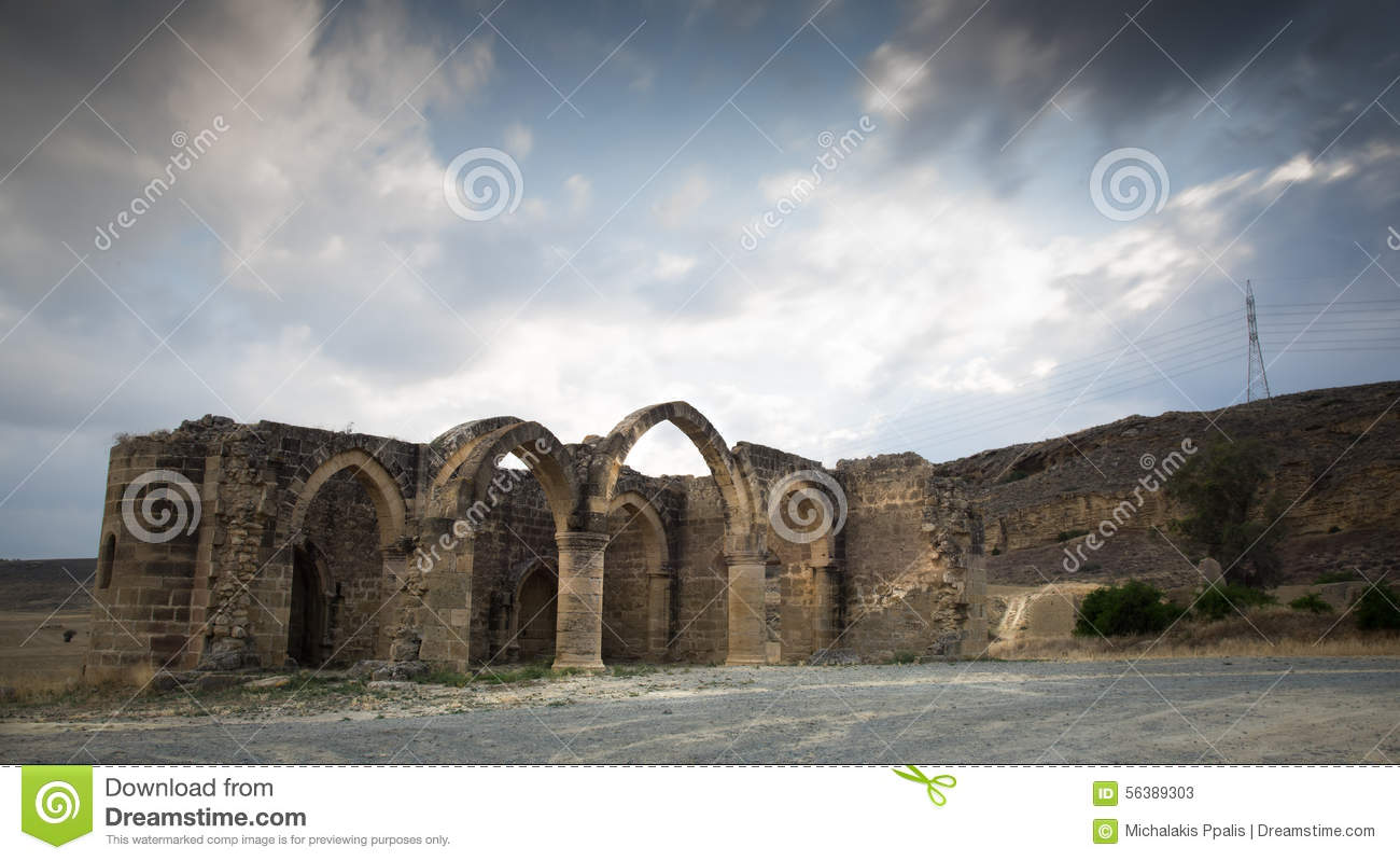 Abandoned Church Ruins In Cyprus Stock Photo.