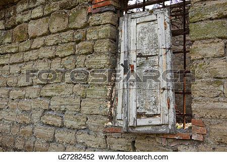 Stock Photo of Deserted stone farmhouse in ruins, Tuscany, Italy.