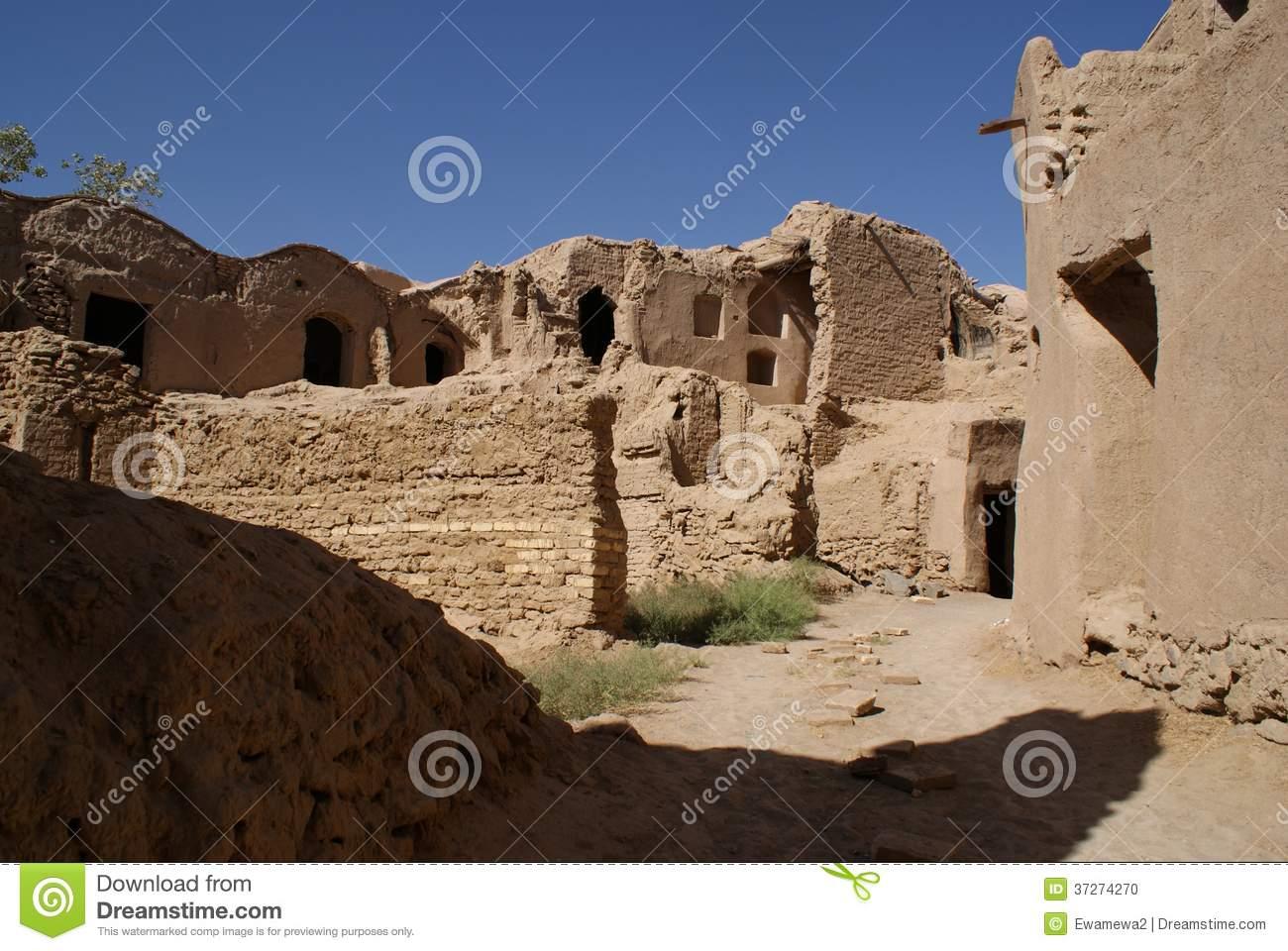 Ruins Of Mud City Near Yazd, Iran Stock Photo.