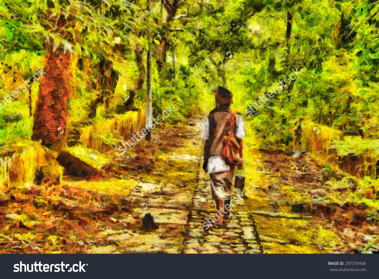 Indian Sadhu Walking Among Jungle Abandoned Stock Illustration.