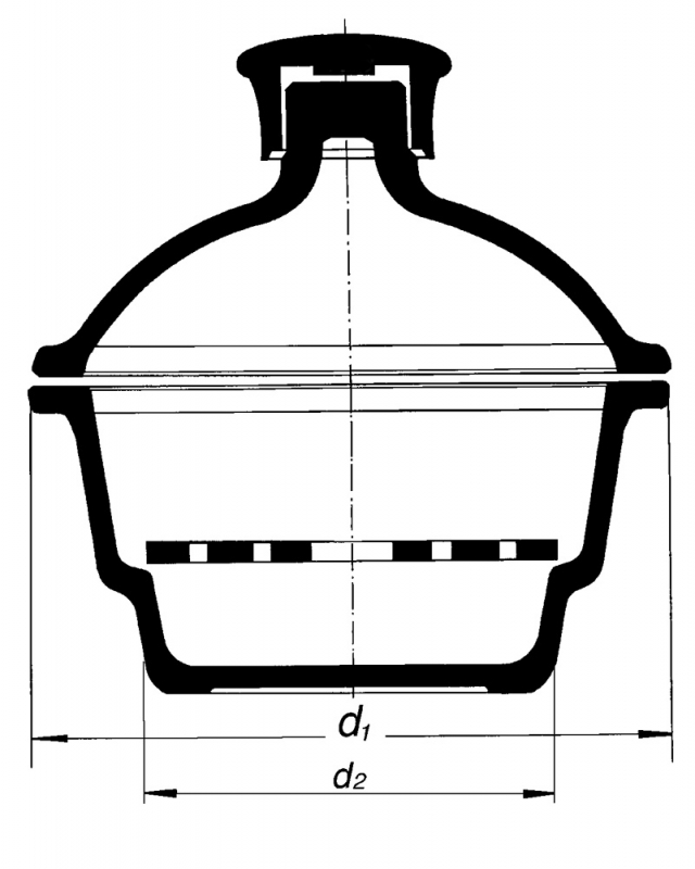 Desiccator with plastic knob, stopcock and porcelain plate.