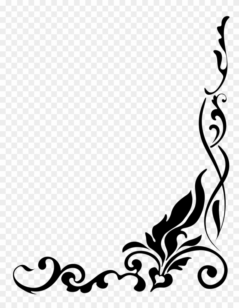 Download Free png Clipart Borders Black And White Floral Border Png.