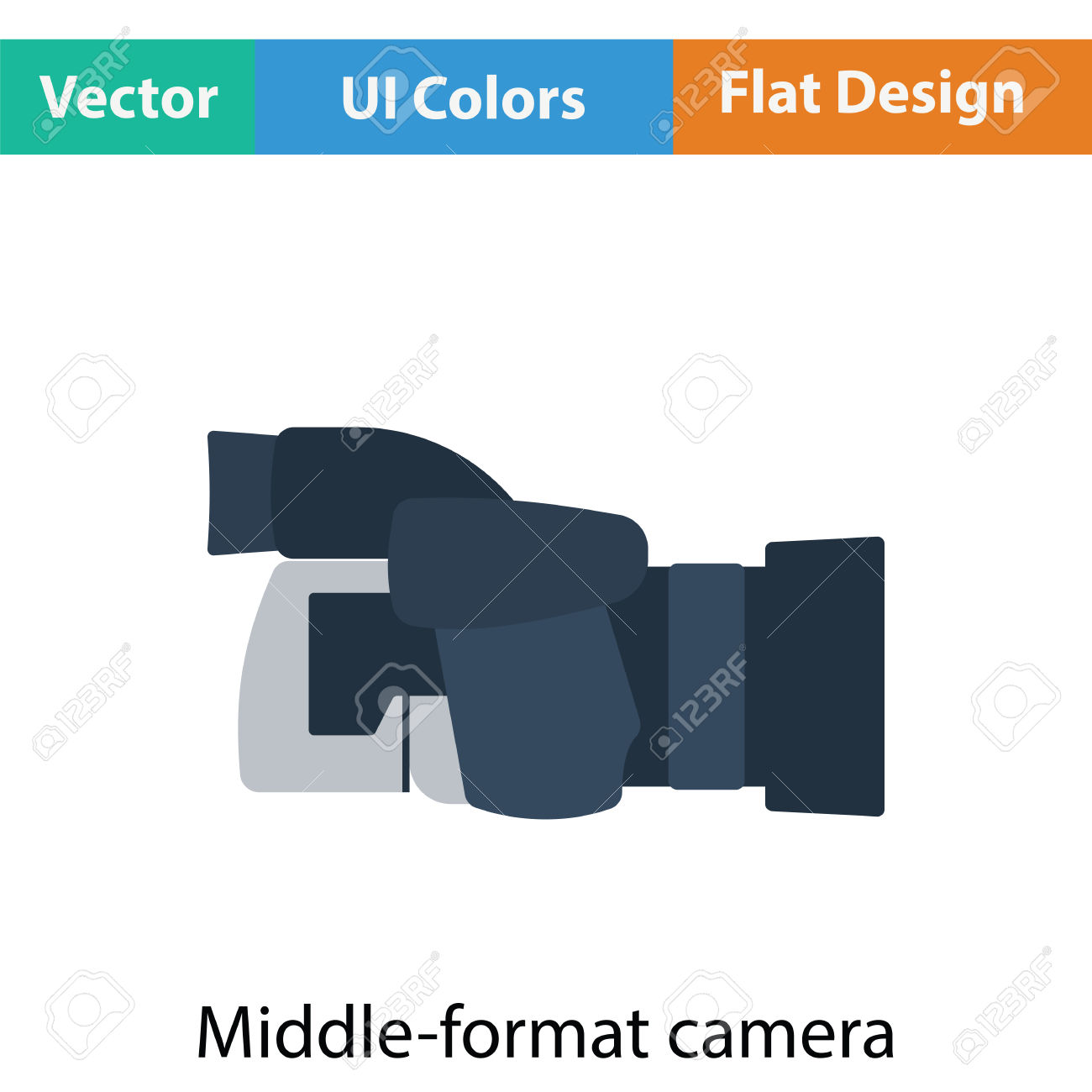 Icon Of Premium Photo Camera. Flat Color Design. Vector.