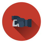 Icon of modern photo camera, flat color design Vector Image.
