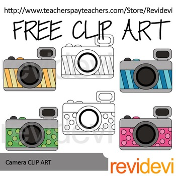 Free camera clip art in vibrant colors. Designed by Revidevi. You.