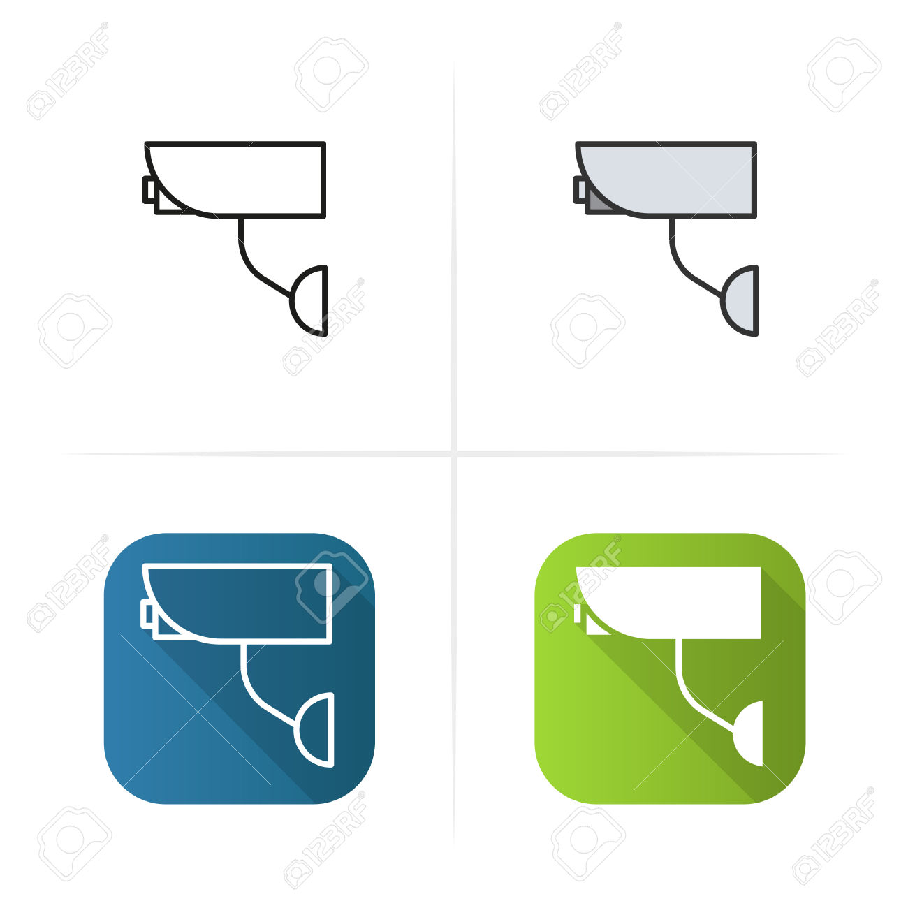 Surveillance Camera Icon. Flat Design, Linear And Color Styles.