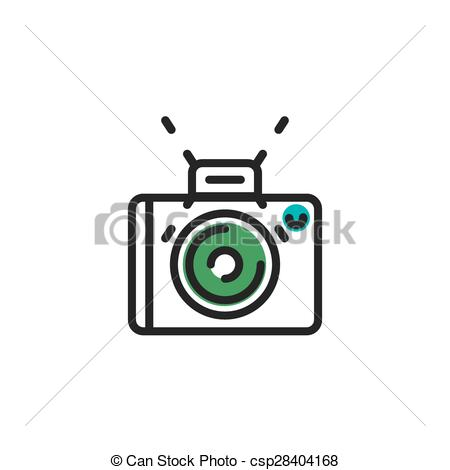 Clip Art Vector of Color line icon for flat design. Camera, photo.