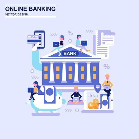 Online banking flat design concept.