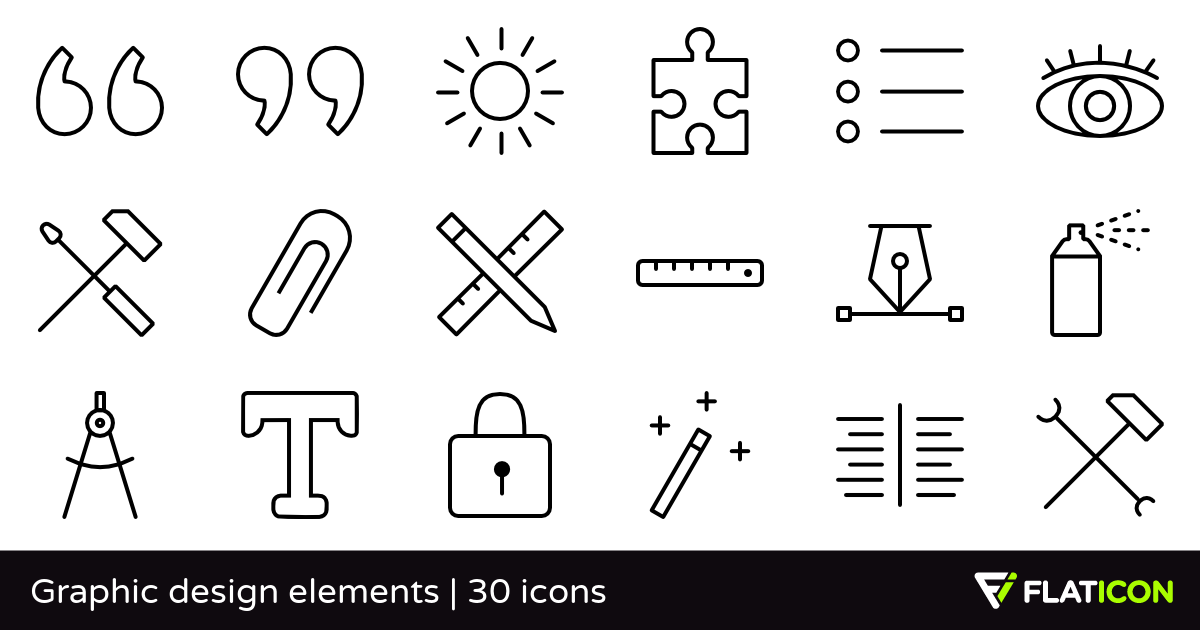 Graphic design elements 30 free icons (SVG, EPS, PSD, PNG files).