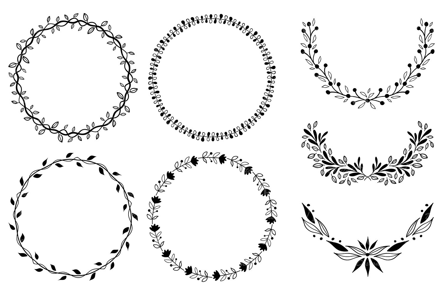 Hand drawn wreaths, laurels and design elements vector.