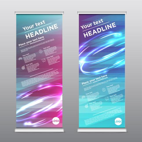 Colorful rollup design flyer, vector illustration.