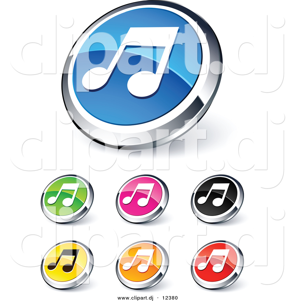 3D Vector Clipart of Music Note Icons.