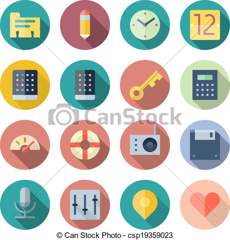 Vector Illustration of Flat Design Icons For User Interface.