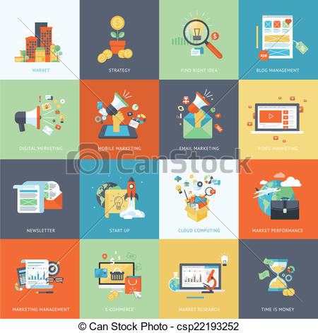 Clipart Vector of Flat design icons for marketing.