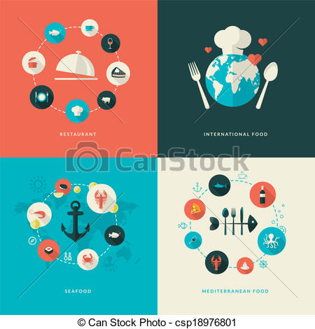 Vector Clipart of Flat design icons for restaurant.