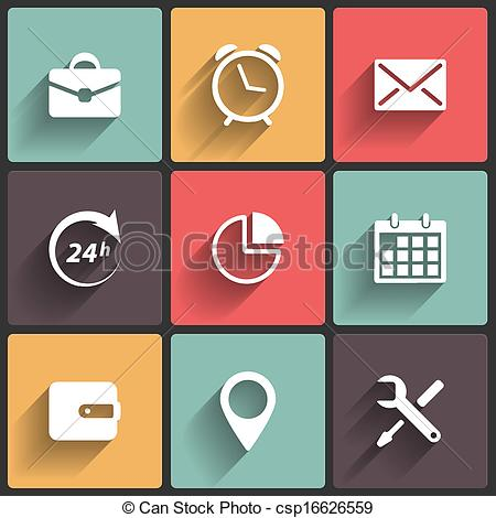 Clipart Vector of Application Web Icons in Flat Design.