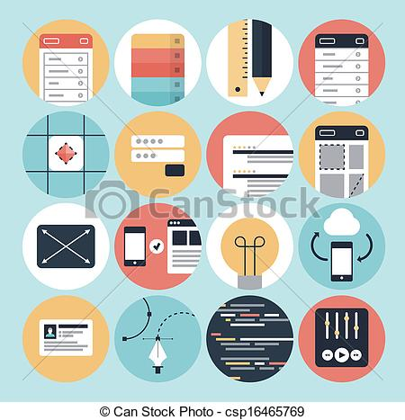 Clip Art Vector of Modern web development and graphic design icons.