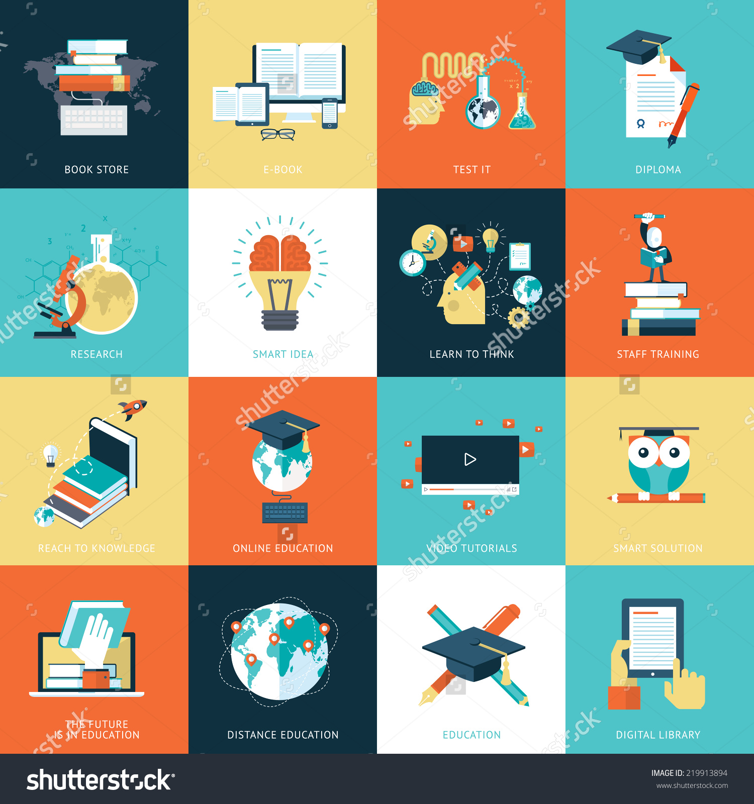 Set Flat Design Icons Education Icons Stock Vector 219913894.