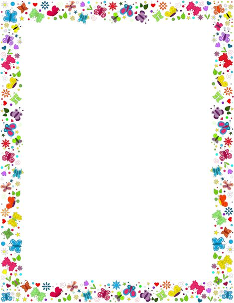 A border featuring butterflies in various colors and designs. Free.