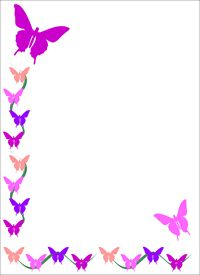 Big printable border paper or smaller clip art frame, butterfly.