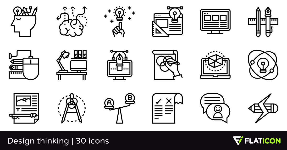 Design thinking 30 free icons (SVG, EPS, PSD, PNG files).