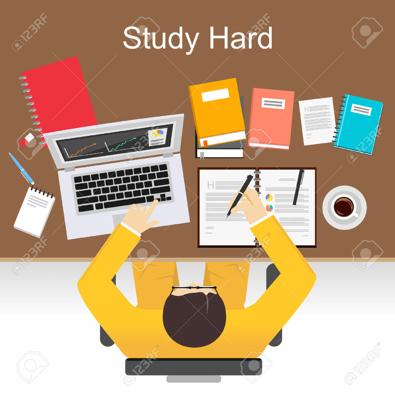 Study Hard Concept Illustration. Flat Design Illustration Concepts.