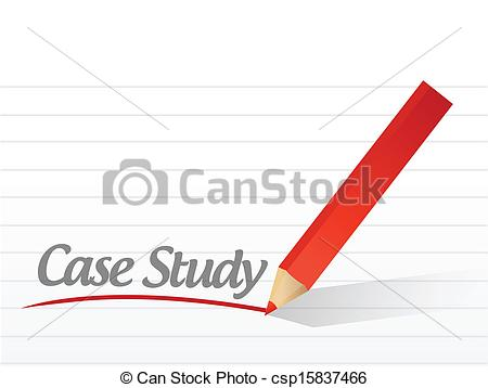 Clip Art Vector of case study written on a white paper.