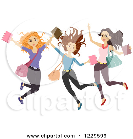 Clipart of a Group of Teenage Girls Jumping.