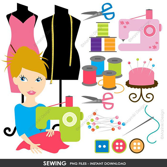 Sewing Clipart, Sewing machine Clipart, Crafter Fashion Designer.