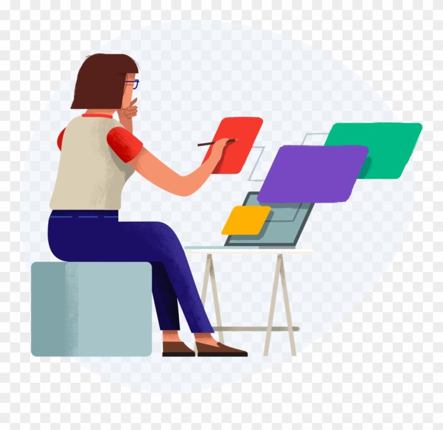 Illustration Of Designer Working On Designs.