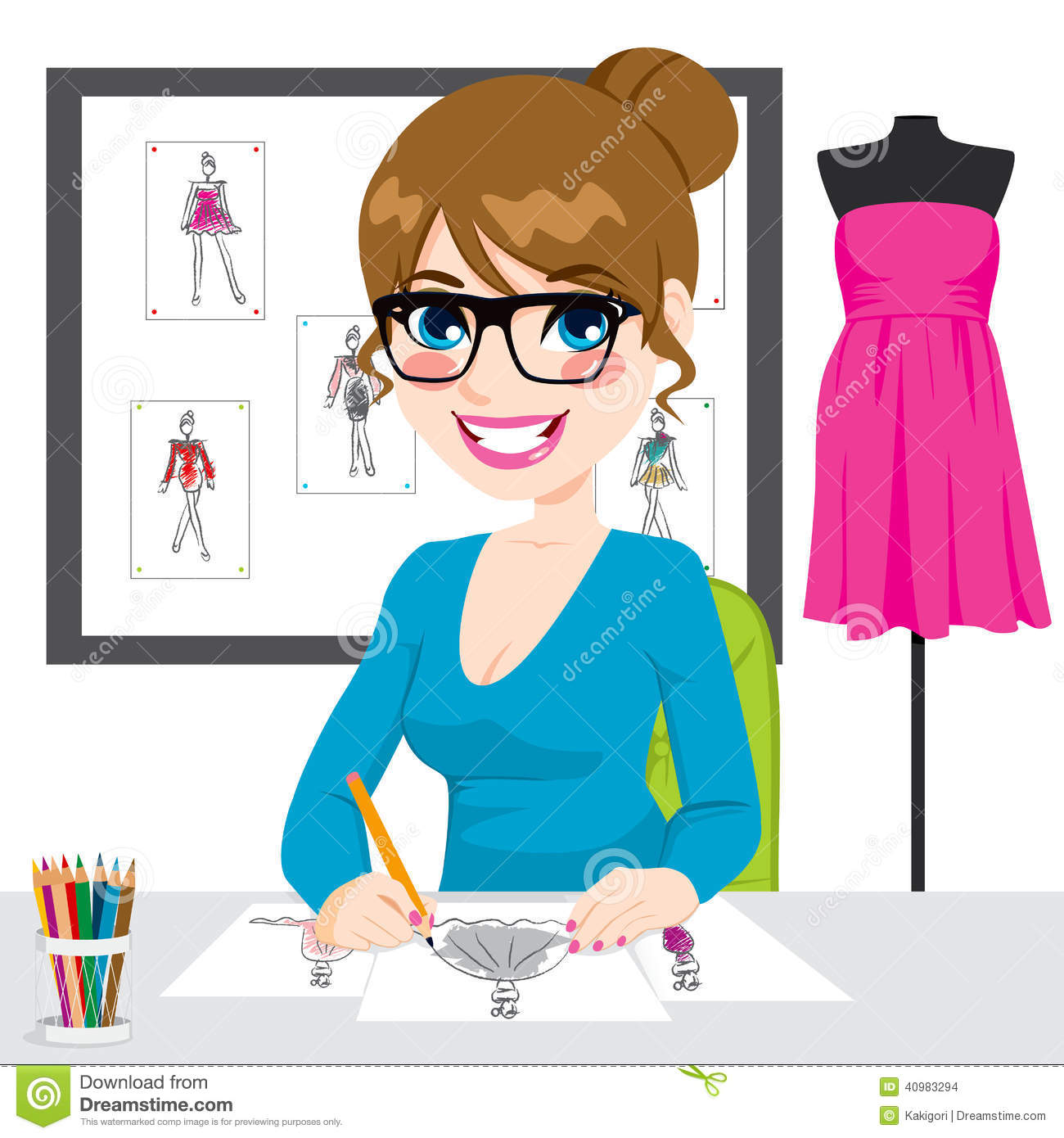 Fashion Designer At Work Clipart.