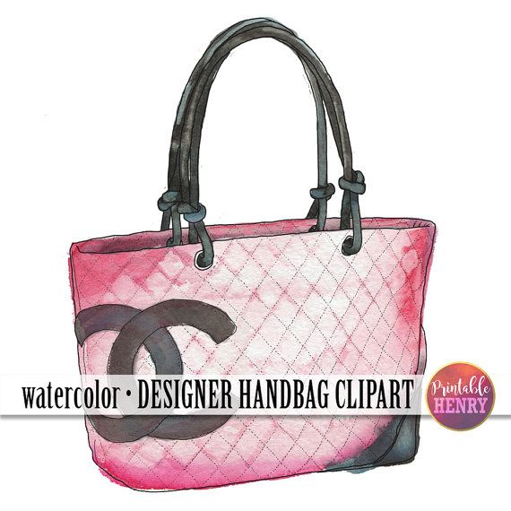 Watercolor, Chanel bag. Designer purse clip art on Etsy. Click to.