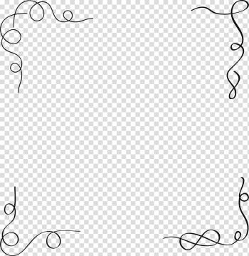 Black swirl border illustration, Black Designer, Line border.