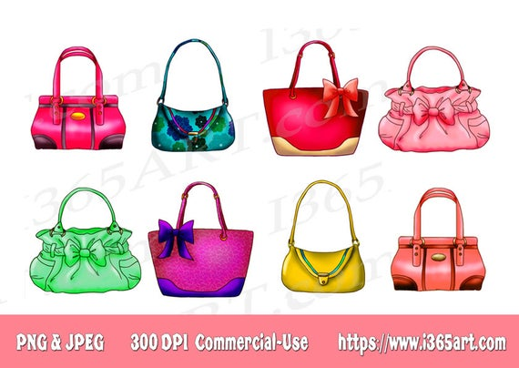 50% OFF Handbag Clipart, Purse Clipart, Clip art, Designer Bags, Fashion,  Scrapbooking, Party Invitations, Graphics, PNG JPEG, Download.