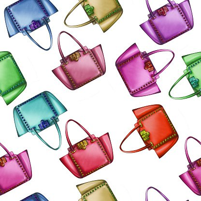 Seamless Pattern Watercolor Fashion Designer Bag premium clipart.