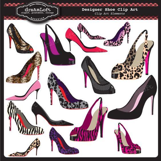 Designer Shoe Clip Art Elements great for graphic designers.