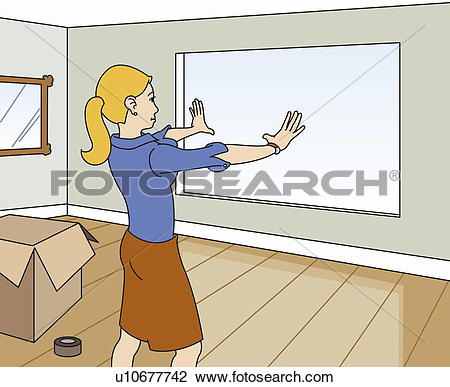 Clip Art of Young woman designing new home interior u10677742.