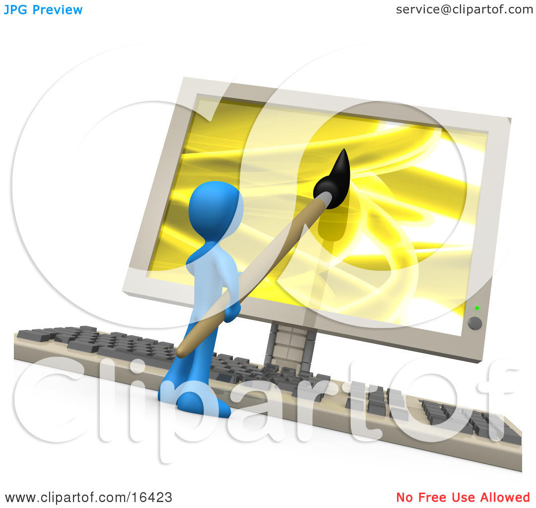 Blue Person Using A Paintbrush On A Flat Screen Computer Monitor.