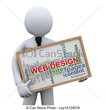 Clipart of 3d businessman and web design tags.