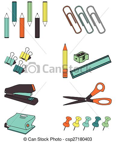 Vector Clipart of office accessories such as, paper clips, ruler.