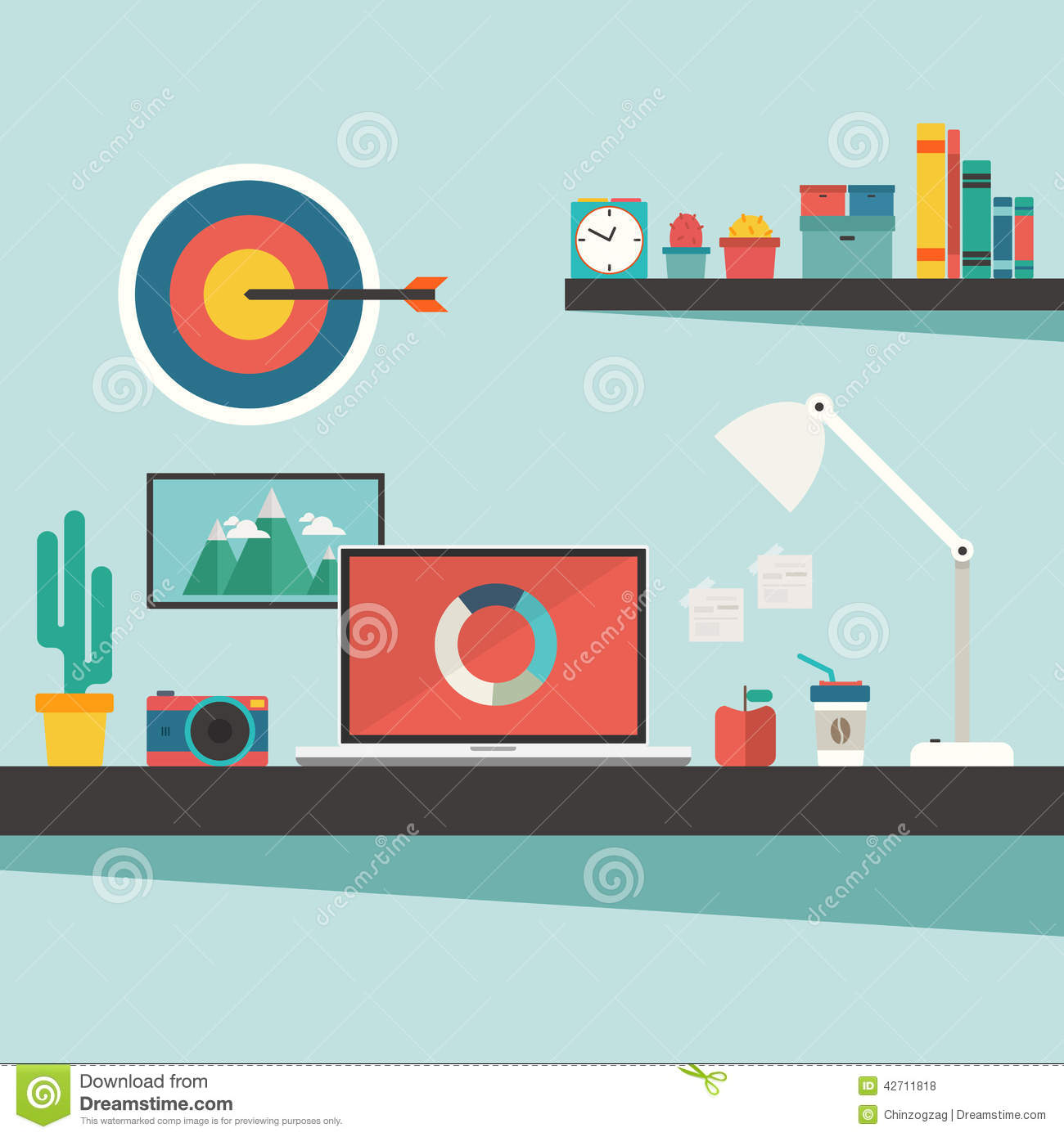 Work Desk And Accessories On Flat Design Concept Stock Vector.