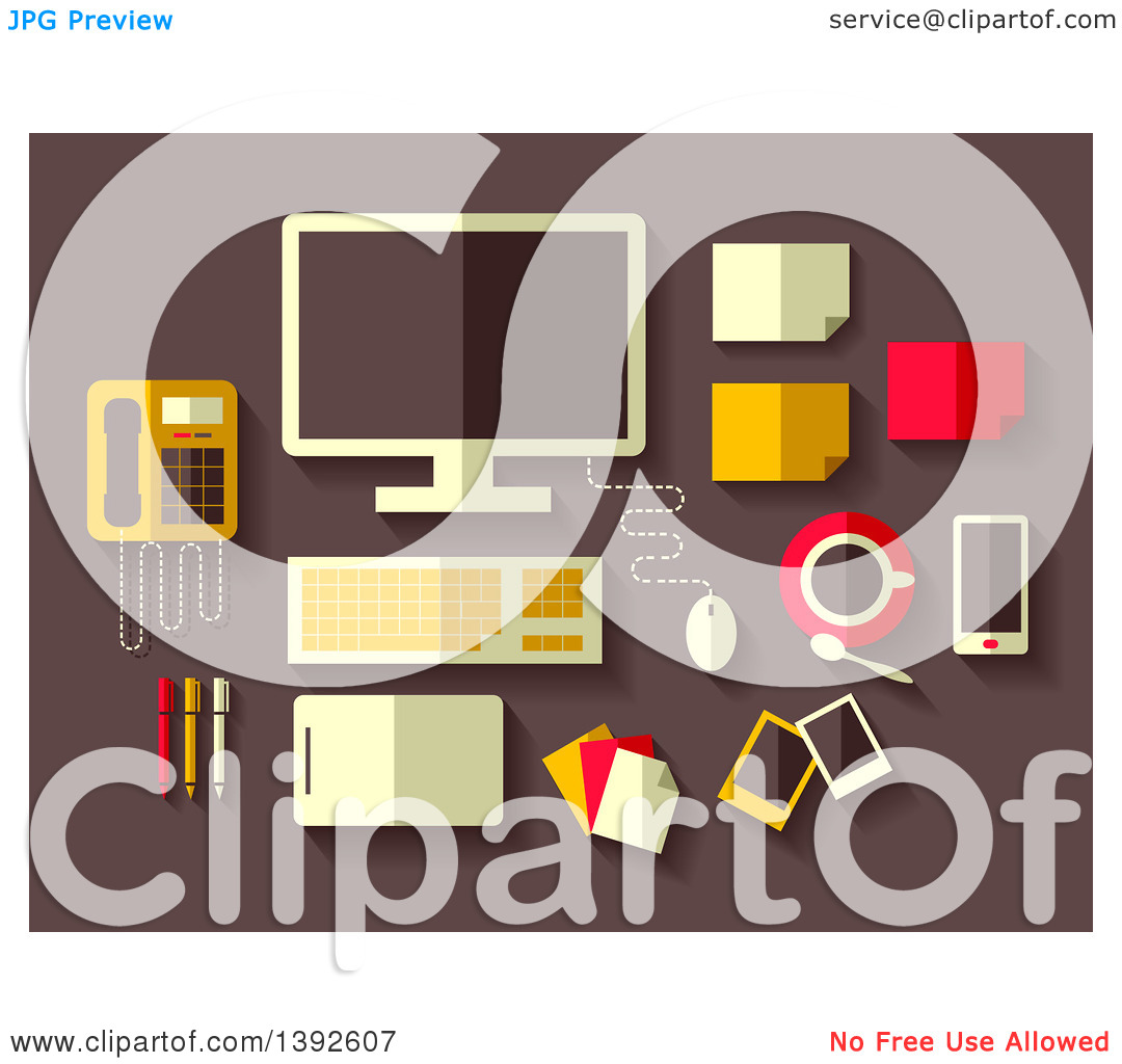 Clipart of Flat Design Office Accessories.