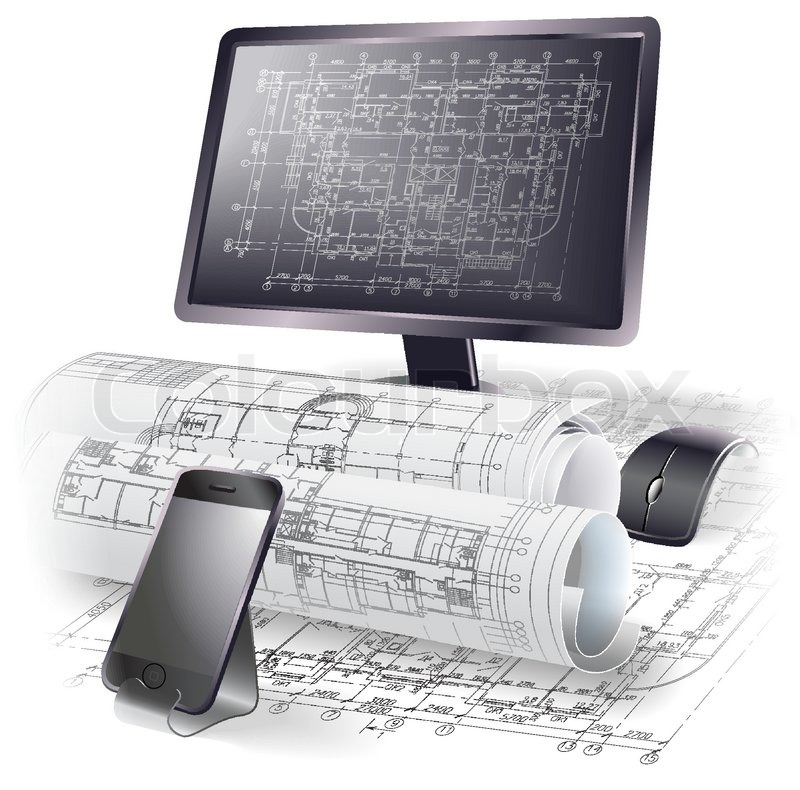 Architectural background with a monitor, office accessories and.