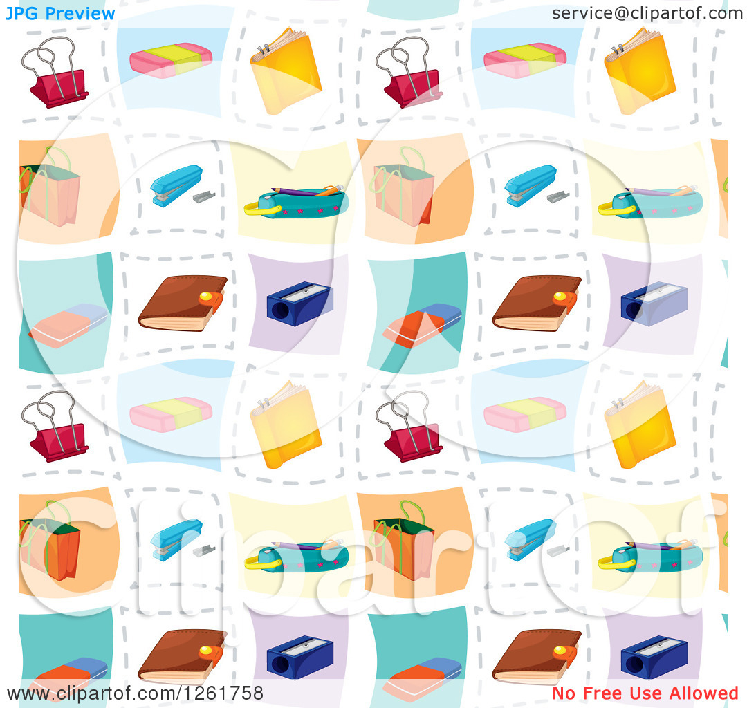 Clipart of a Seamless Background Pattern of Office Accessories.