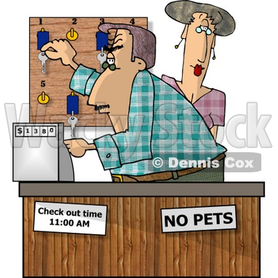 Clerks Working the Front Desk Clipart Picture © Dennis Cox #5925.
