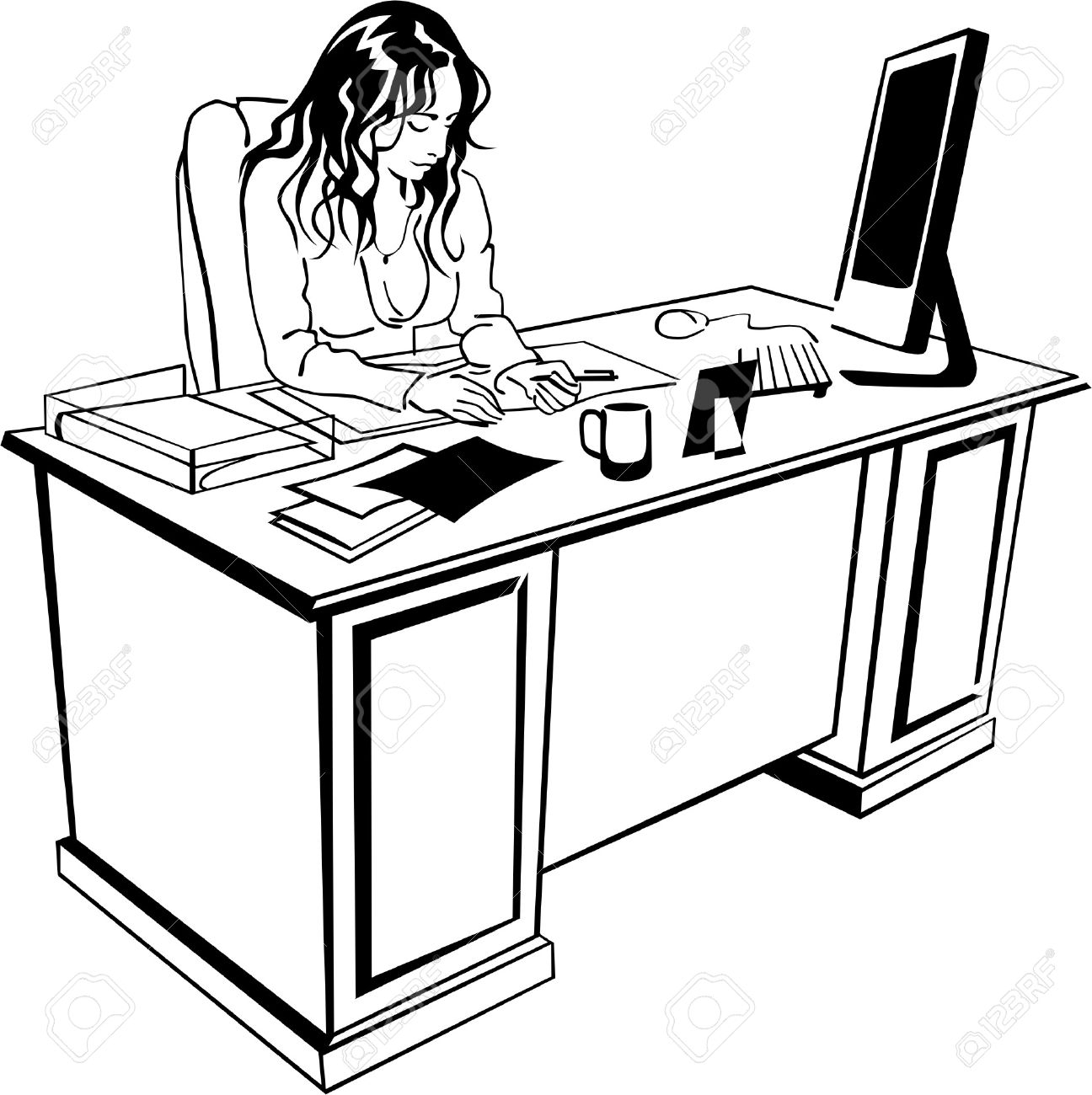 Office clerk clipart.